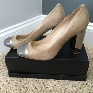 Suede Calvin Klein pumps with mirrored heels